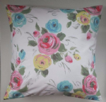 "Cushion Cover in Cath Kidston Painterly Rose and Aqua Spot 14"" 16"" 18"" 20"""